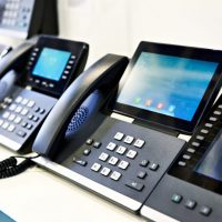 Office phones at the exhibition